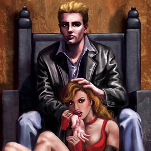 Handsome vampire master seated with subservient female underling