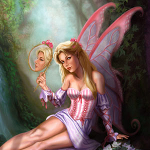 pink fairy is primping in the forest