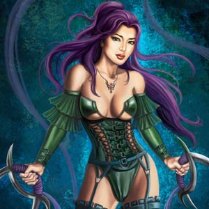 purple haired female warrior brandishing double deerhorn knives