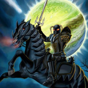 evil black knight on horseback green planet looming in background