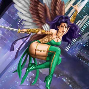 asian heroine with angel wings and straight sword flying among futuristic city