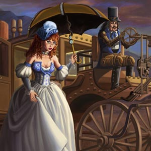 steampunk cinderella is boarding her steampunk carriage to attend the ball. Her animal friends bid her goodbye.
