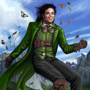 steampunk Michael Jackson as peter pan is dancing on top of a mountain