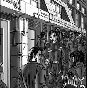 Akemi is walking through the crowded streets of the lowest level of the city